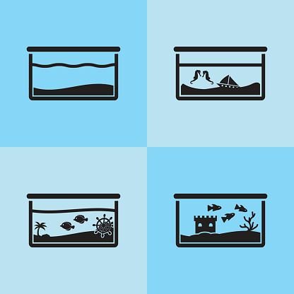 Aquarium vector icon set