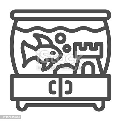 istock Aquarium with fish and castle on pedestal line icon, pets concept, tank of water with fish sign on white background, aquarium with water icon in outline style. Vector graphics. 1282419641