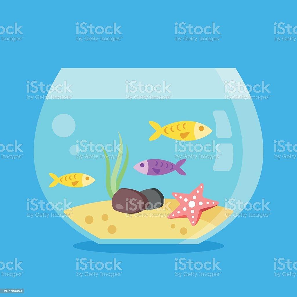 Aquarium with fish, seaweed, starfish, sand, stones. Round fish tank 벡터 아트 일러스트