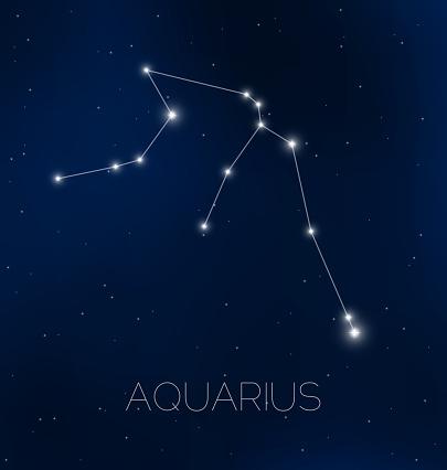 Aquarius constellation in night sky
