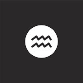 aquarius icon. Filled aquarius icon for website design and mobile, app development. aquarius icon from filled esoteric collection isolated on black background.