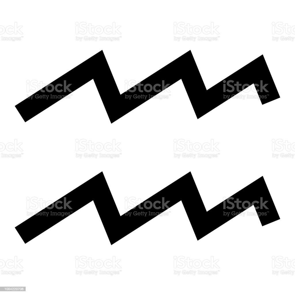 Aquarius Symbol Zodiac Icon Black Color Illustration Flat Style