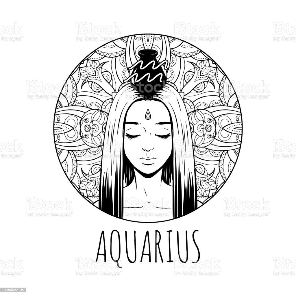 Aquarius Zodiac Sign Artwork Adult Coloring Book Page Beautiful Horoscope  Symbol Girl Vector Illustration Stock Illustration - Download Image Now -  IStock