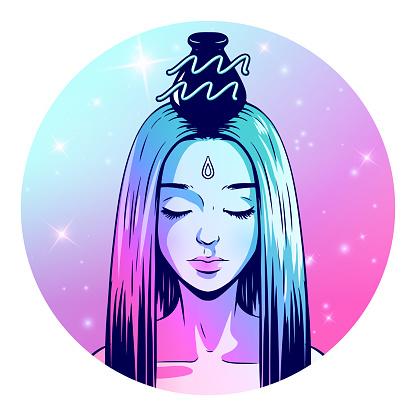 Aquarius zodiac sign artwork, beautiful girl face, horoscope symbol, star sign, vector illustration