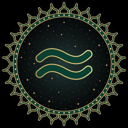 Aquarius zodiac sign, astrological, horoscope symbol. ethnic illustration