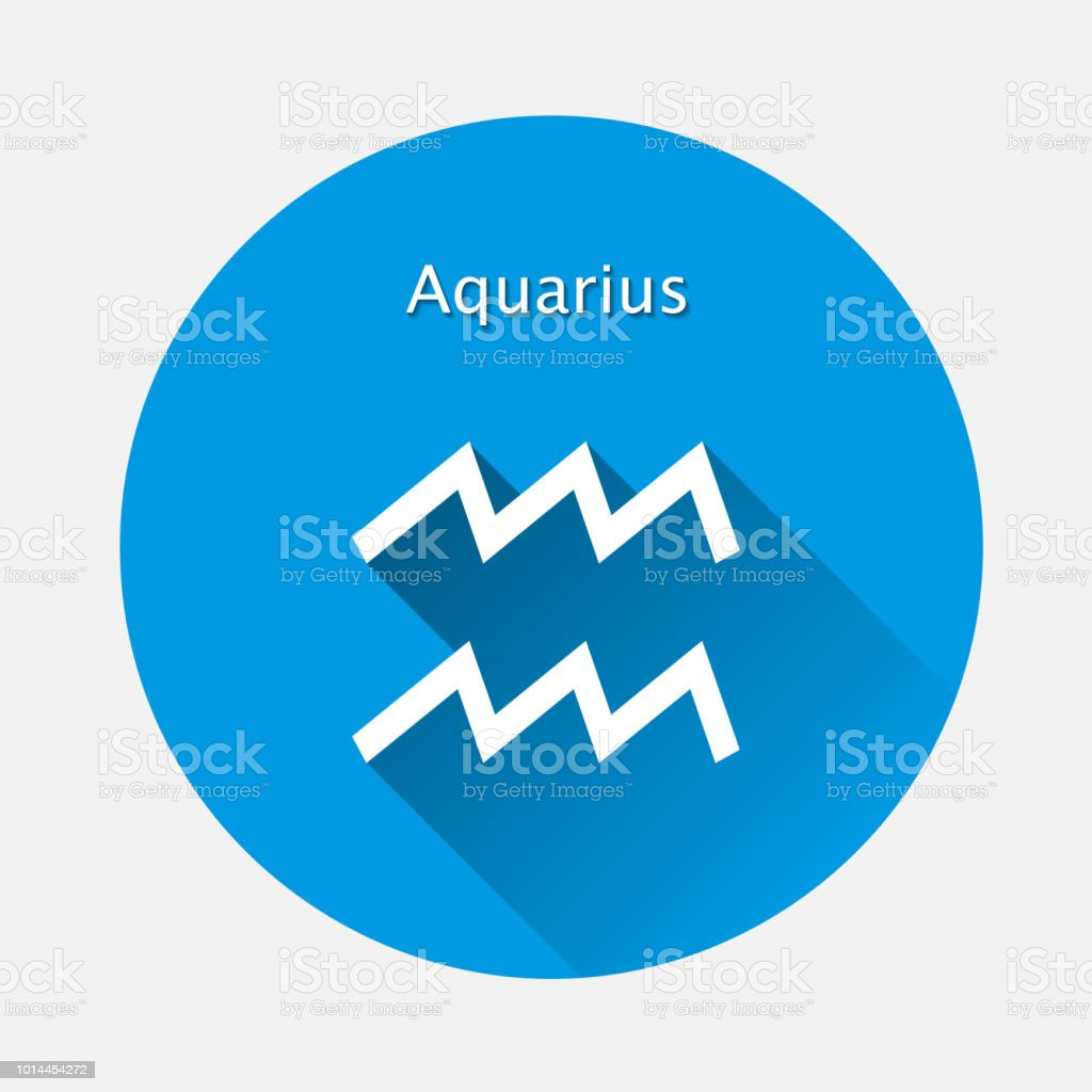 Aquarius Zodiac Sign Astrological Symbol Icon In Circle With Long