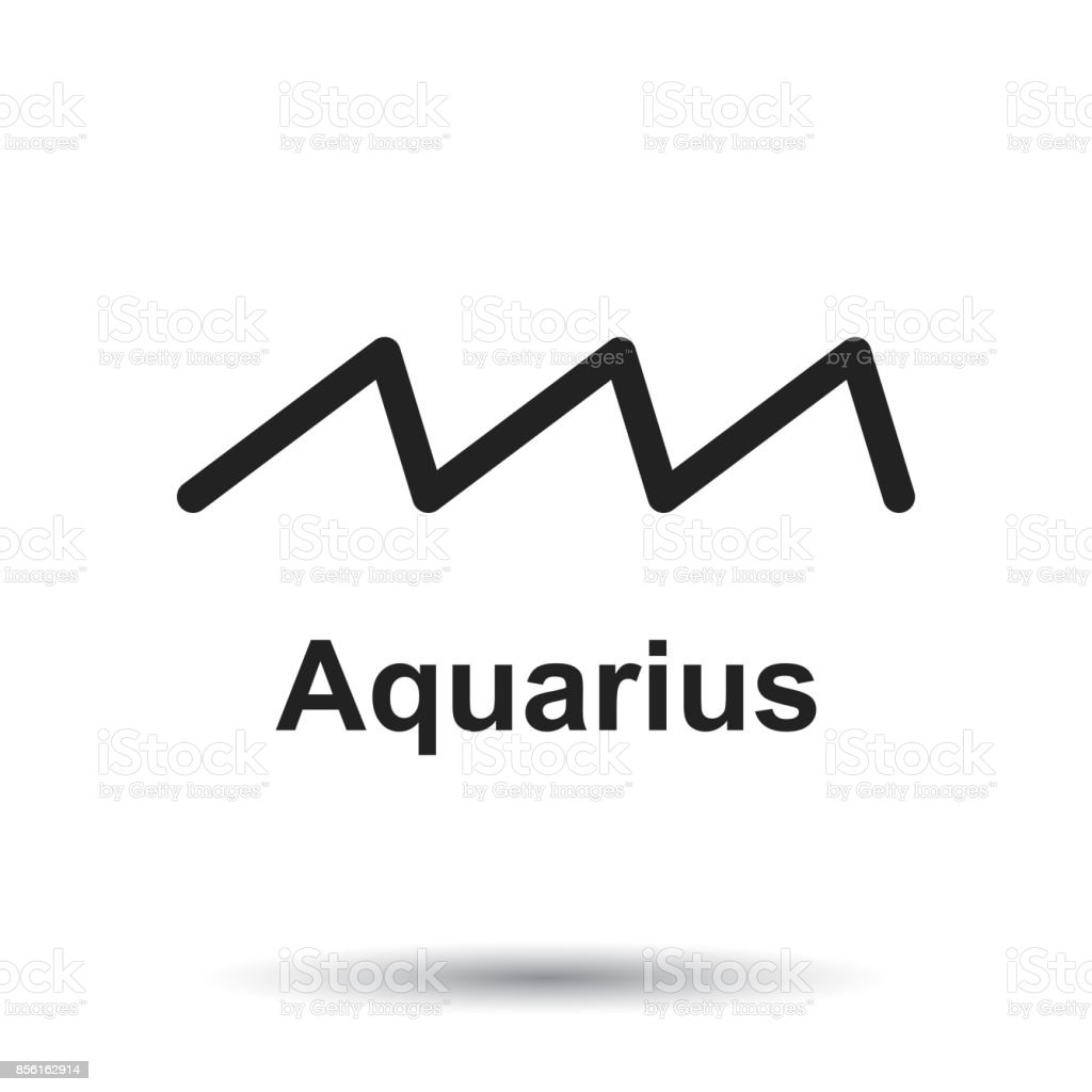 Aquarius zodiac sign. Flat astrology vector illustration on white background. - ilustração de arte vetorial