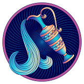 Aquarius zodiac sign, astrological, horoscope symbol. Futuristic icon. Stylized graphic blue amphora decorated with a geometric pattern. Water is poured from a jug with a handle. Vector illustration.