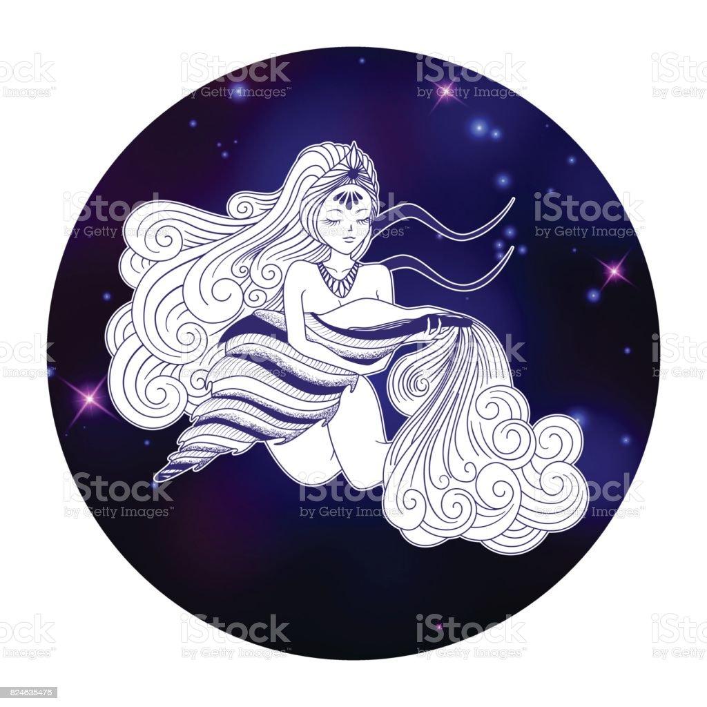 Aquarius zodiac sign, horoscope symbol, vector illustration - ilustração de arte vetorial