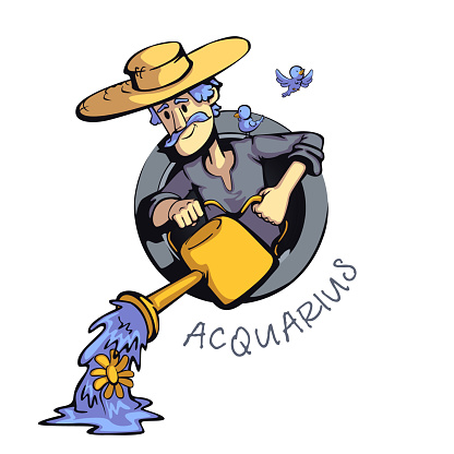 Aquarius zodiac sign man flat cartoon vector illustration. Astrological symbol personality, farmer with watering can. Ready to use 2d character for commercial, printing design. Isolated concept icon