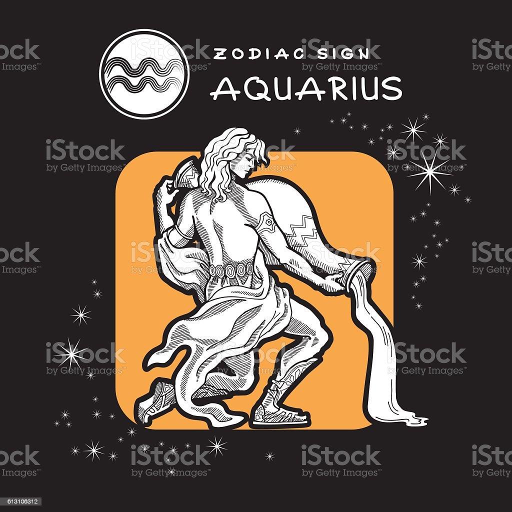 Aquarius - Zodiac Sign. vector art illustration