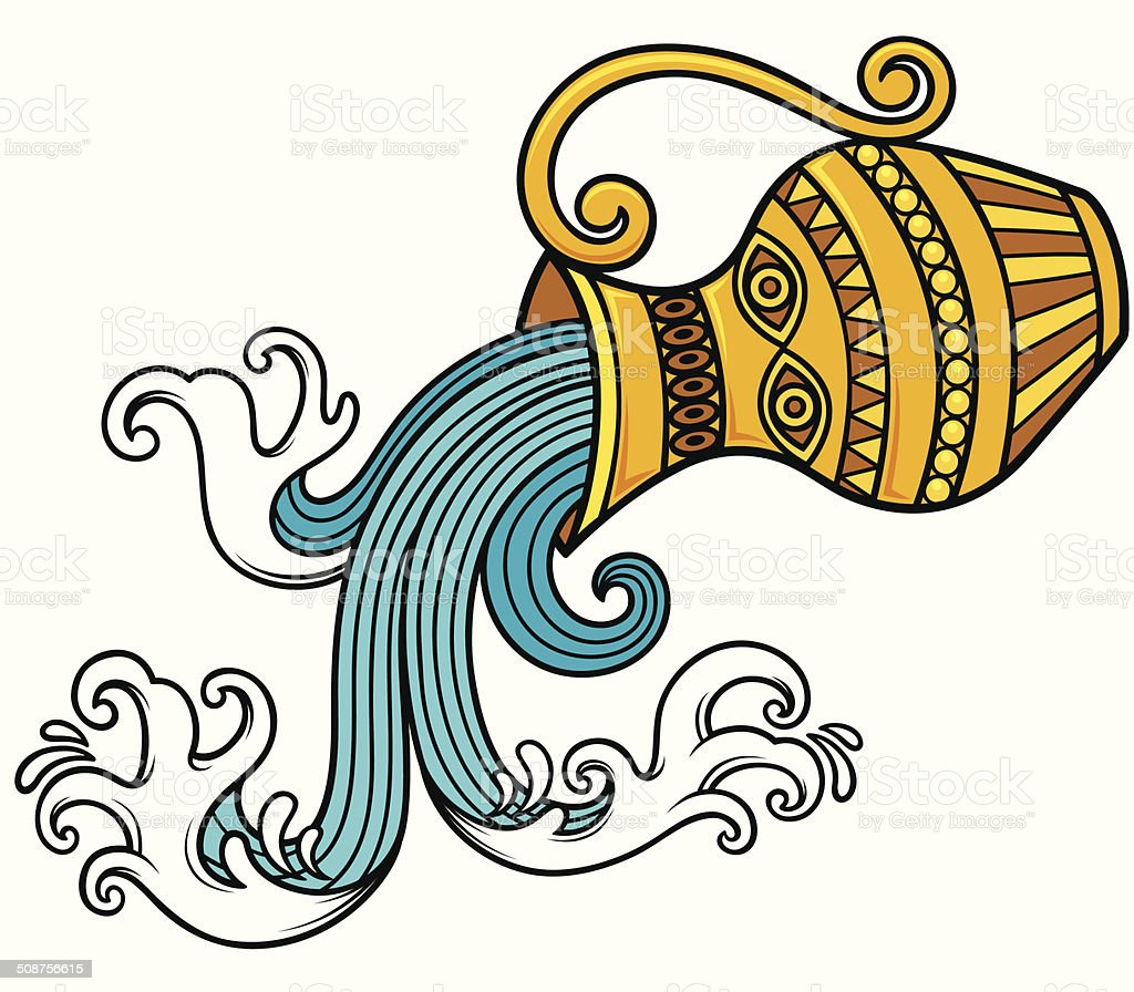 Aquarius zodiac vector art illustration