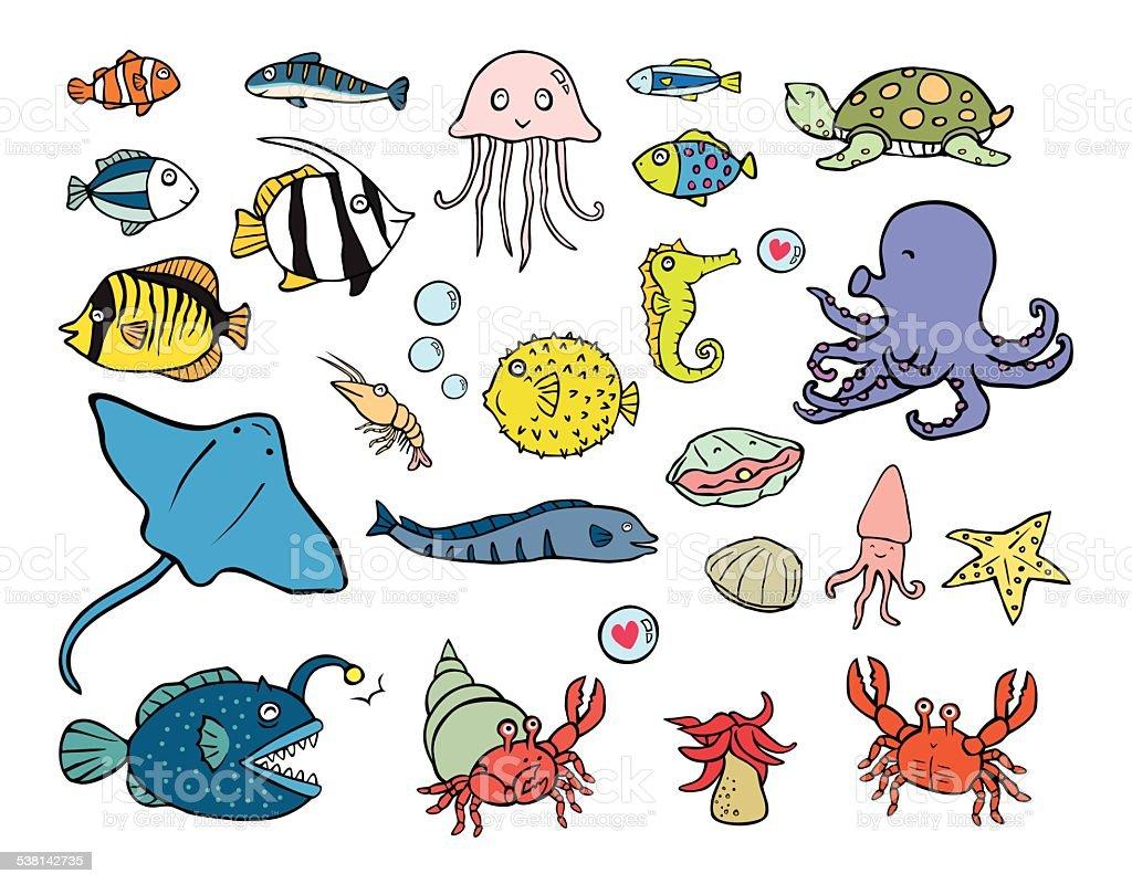 aquatic animals vector art illustration
