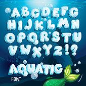 Cartoon vector water letters alphabet