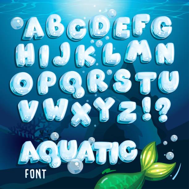aquatic font vector art illustration