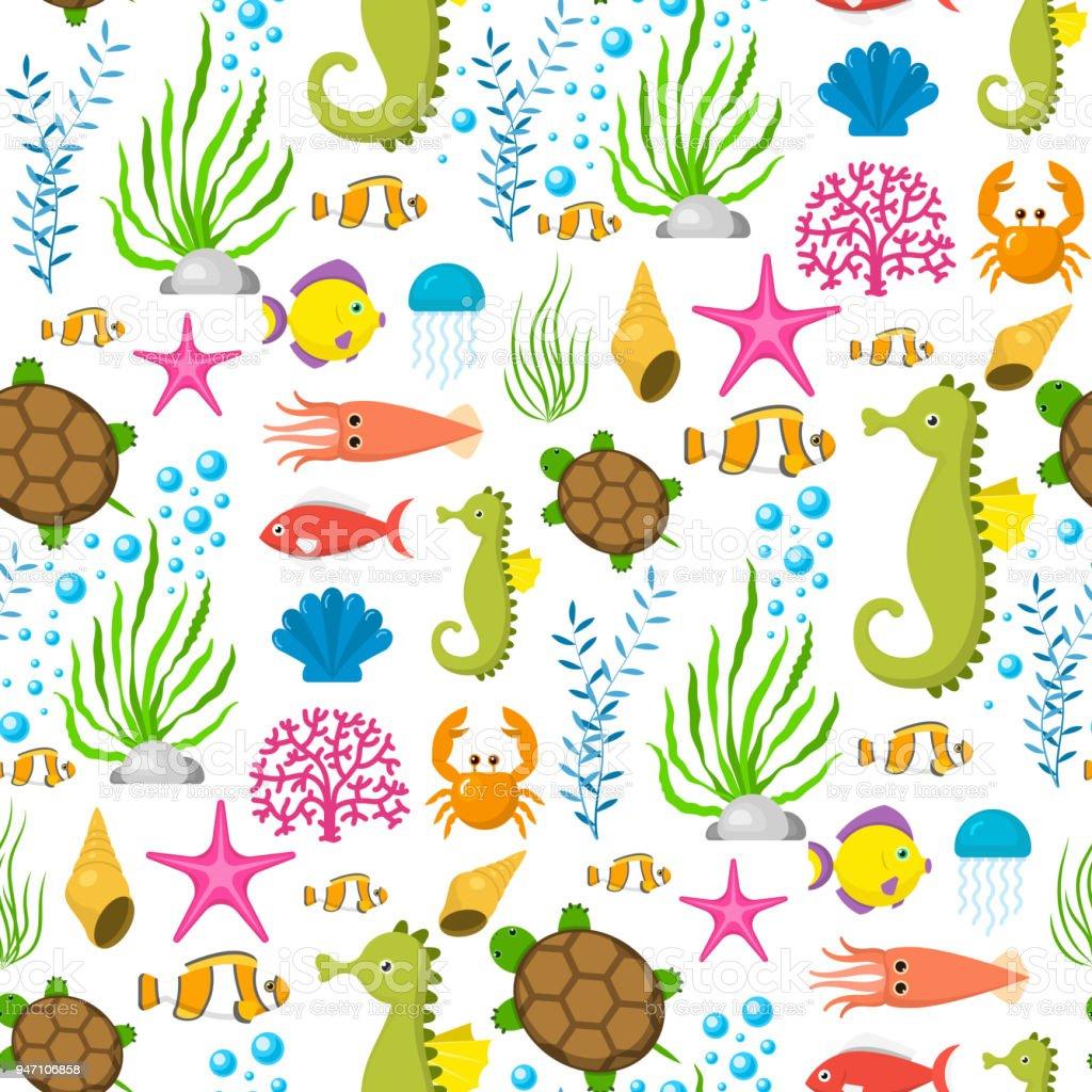Aquatic funny sea animals underwater creatures cartoon characters...