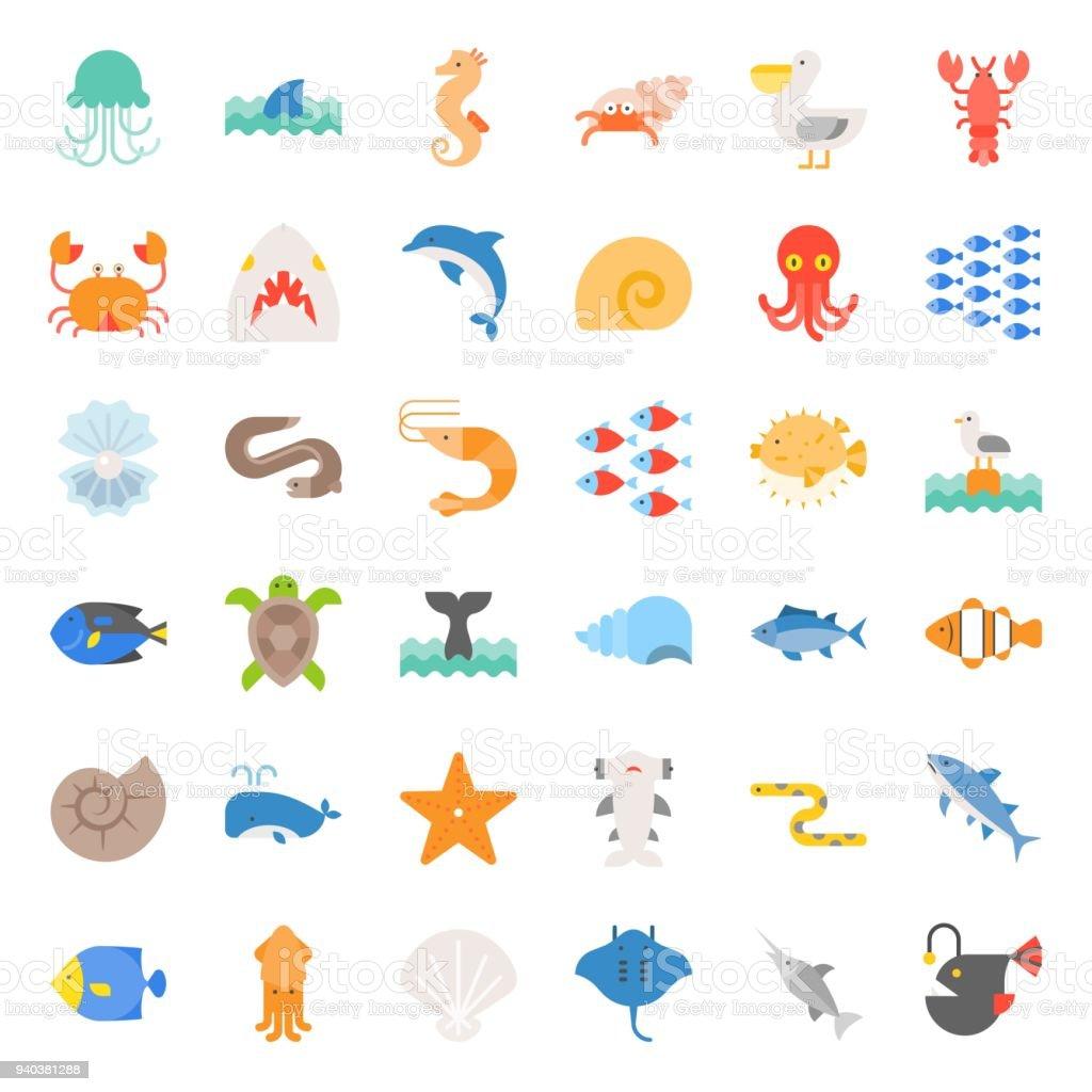 Jeu de plat icône vie aquatique Ocean jeu de plat icône vie aquatique ocean vecteurs libres de droits et plus d'images vectorielles de au fond de l'océan libre de droits