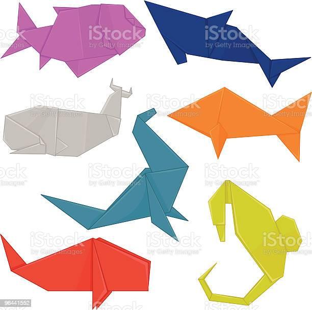 Vetores de Aquatic Origami Animais e mais imagens de Animal