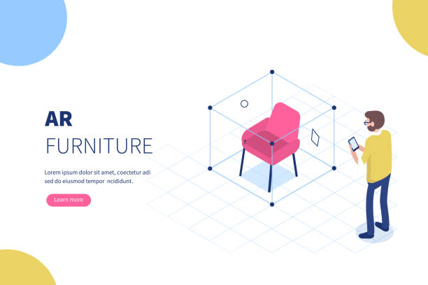 ar furniture Augmented reality furniture concept with character. Can use for web banner, infographics, hero images. Flat isometric vector illustration. augmented reality stock illustrations