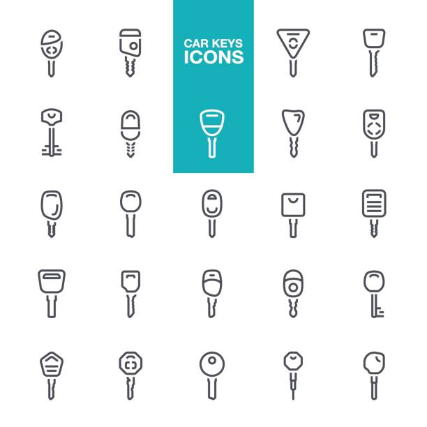 Сar keys line icons Key, Car Key, House Key, Security System icons set car key stock illustrations