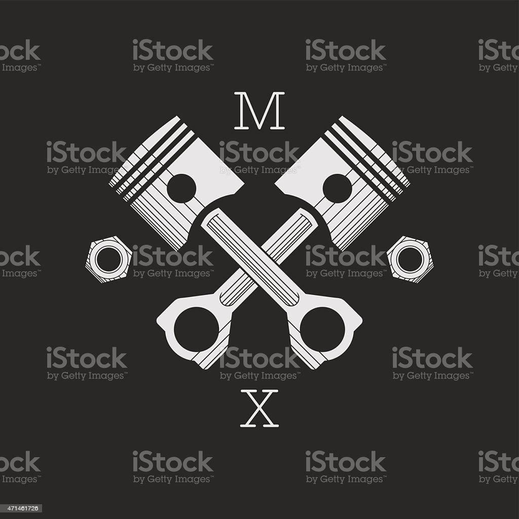 Сar or bike workshop logo template (concept). Vector illustration. vector art illustration