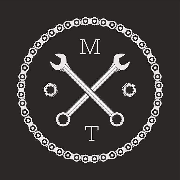 Сar or bike workshop logo template (concept). Vector illustration. Bike chain and spanners combined in vector sign. Logo template. bicycle chain stock illustrations
