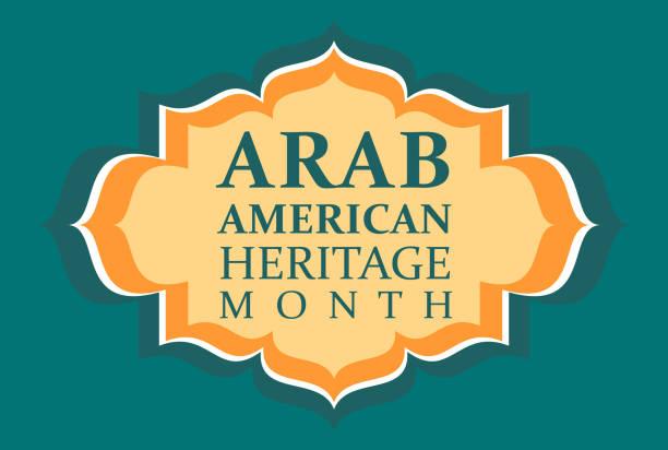 bildbanksillustrationer, clip art samt tecknat material och ikoner med arab american heritage månad. vektor banner för sociala medier, affisch, gratulationskort. en medborgareferie som firas i april i förenta staterna av folk av arabiskt beskärning. - tradition
