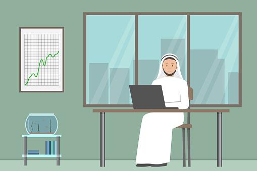 Arab boss in white kandura working in his office. Vector illustration