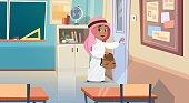 Arab Boy Opening School Door In Classroom Muslim Pupil Go To Classroom
