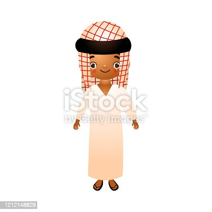 istock Arab boy sheikh in traditional ethnic white wearing with kefia. Vector illustration in flat cartoon style 1212148829
