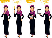 Arab business woman character. Four different poses