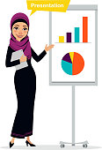 Arab business woman character with digital tablet standing near flipchart