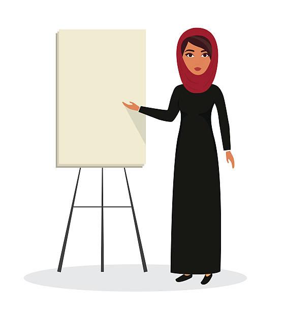arab business woman, teacher profession. muslim businesswoman wearing hijab. vector - emirati woman 幅插畫檔、美工圖案、卡通及圖標