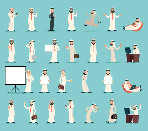 arab businessman character icons set retro vintage cartoon design vector - arab stock illustrations