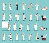 Arab Businessman Character Icons Set Retro Vintage Cartoon Design Vector