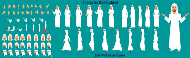illustrazioni stock, clip art, cartoni animati e icone di tendenza di arab businessman character turnaround - arabia