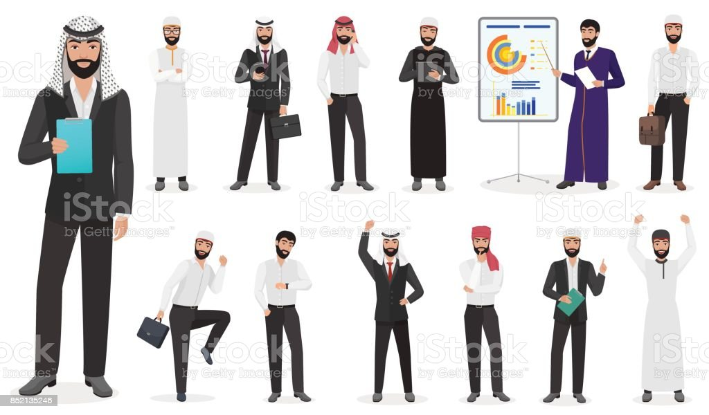 Arab Businessman man Character poses. Muslim male positions in suit and traditional clothes cartoon vector illustration. vector art illustration