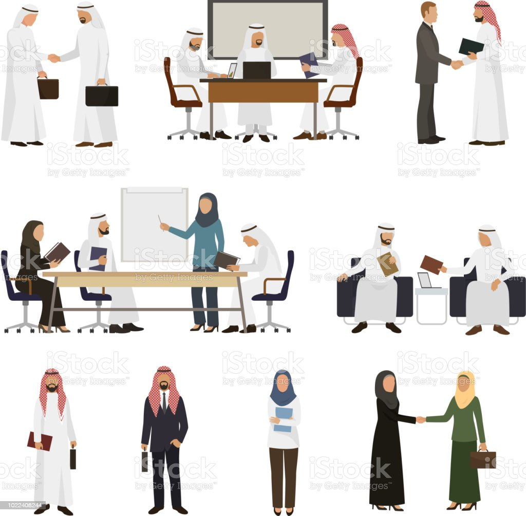 Arab businessman vector arabian business people handshaking to his business partner illustration set of arabic businesswoman working in office isolated on white background vector art illustration