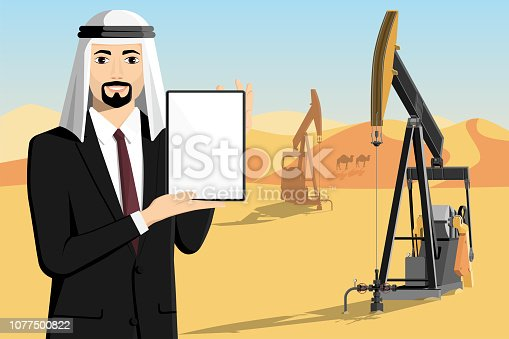 Arab businessman with tablet computer stands on the background of oil rigs in the desert. Vector illustration