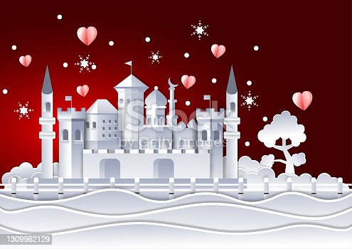 istock Arab castle with mosque paper cut and mini heart, snow flake decoration vector  ,Islamic craft landmark 1309962129