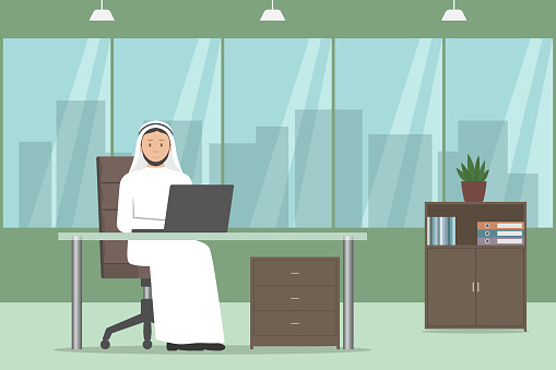 Arab chief in thawb working on laptop in his office. Vector illustration