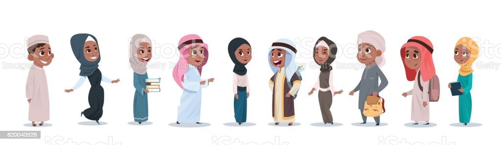 Arab Children Girls And Boys Group Small Cartoon Pupils Collection Muslim Students vector art illustration