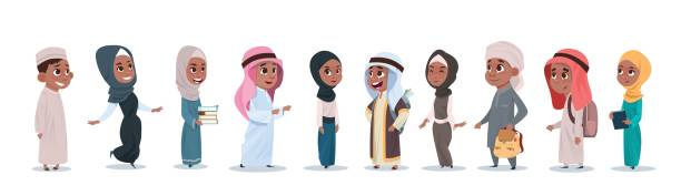 arab children girls and boys group small cartoon pupils collection muslim students - arab stock illustrations