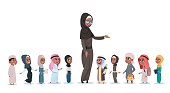 Arab Children Pupils With Female Teacher Muslim Schoolchildren Group