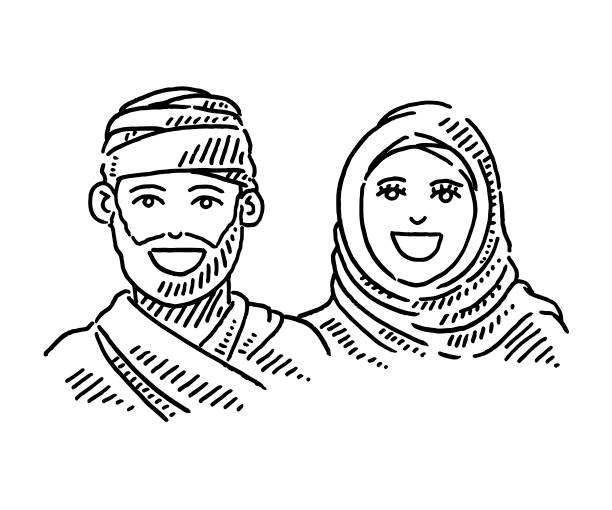 Arab Couple Traditional Clothing Headscarf Drawing Hand-drawn vector drawing of an Arab Couple wearing Traditional Clothing and a Headscarf. Black-and-White sketch on a transparent background (.eps-file). Included files are EPS (v10) and Hi-Res JPG. women stock illustrations