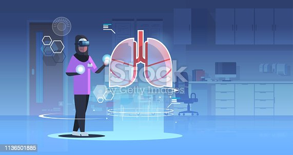 864464934istockphoto arab doctor nurse wearing digital glasses looking virtual reality lungs human organ anatomy healthcare medical vr headset vision concept clinic room interior full length horizontal 1136501885