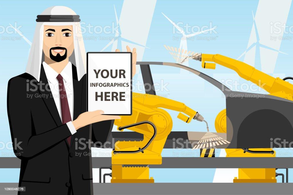 Arabische ingenieur met een digitaal tabletvectorkunst illustratie