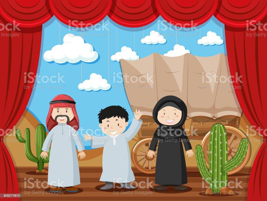 Australisch Familie Interieur : Arabische familie auf der bühne stock vektor art und mehr bilder