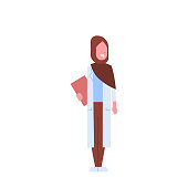 arab female doctor holding clipboard arabic woman in hijab and uniform hospital medicine worker cartoon character full length white background flat vector illustration