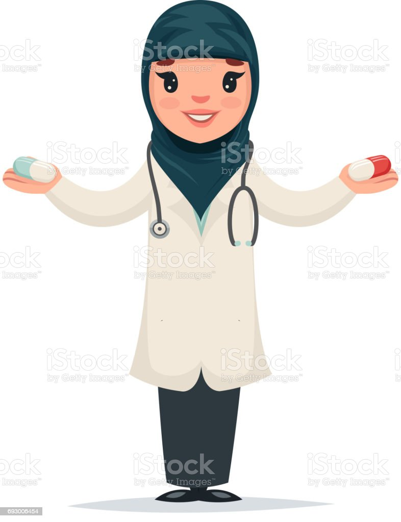 arab female girl cute doctor with pills in hands character